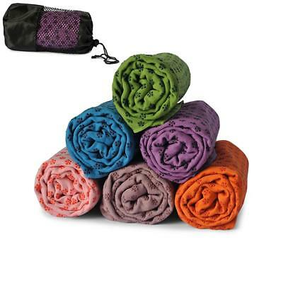 Bikram Hot Yoga Pilates Towel Grip Non Slip Skid Travel Microfibre Exercise