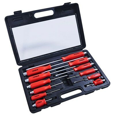 12Pc Heavy Duty Engineers Mechanics Screwdriver Set With Hex Bolsters + Case