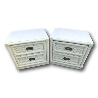 Vintage Dixie Campaign Wicker Weve Collection Nightstands End Tables Palm Beach