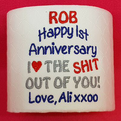 First 1st Wedding Anniversary Embroidered Toilet Roll PAPER Personalised Him Her