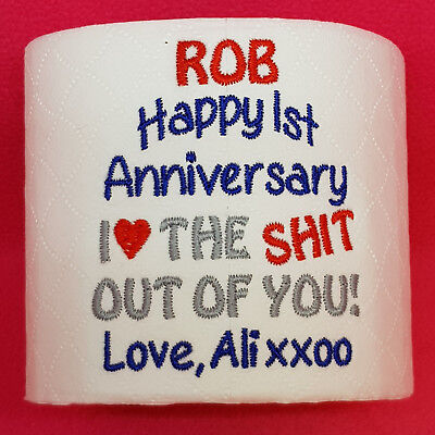 First 1st Wedding Anniversary Embroidered toilet roll Unique PAPER Personalised