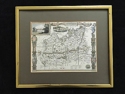 ANTIQUE MAP OF SURREY HAND ENGRAVING BY THOMAS MOULE 1835-1845, size 26x20cm