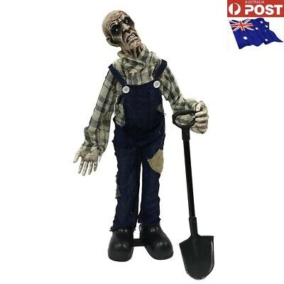 Animated Standing Zombie Grave Digger 75cm Laugh Move lights Halloween Prop-AU