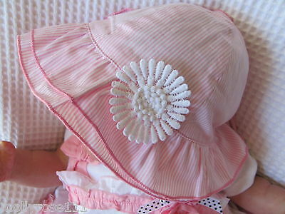 Baby Girls Summer Pink & White Striped Cotton Hat With Applique Daisy