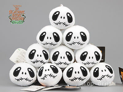 10X The Nightmare Before Christmas Jack Skeleton Head Plush Toy Doll Key Chains