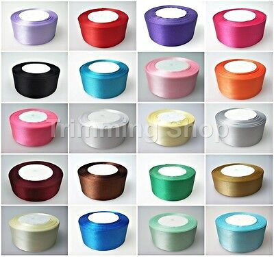 25mm x 22 Metres Full Roll Quality Double Sided Faced Satin Ribbon 20 Colours