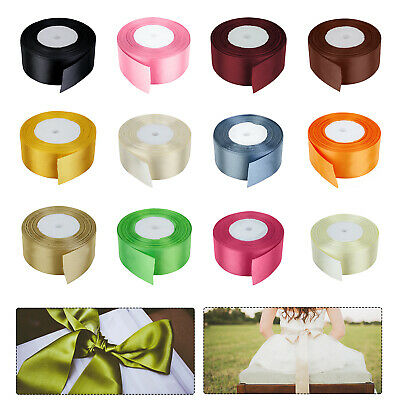 40mm x 25 Metres Full Roll Quality Double Sided Faced Satin Ribbon 24 Colours
