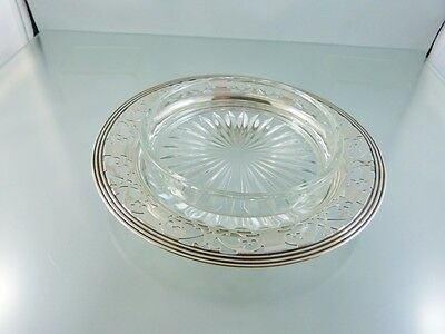 PLAIN PIERCED BUTTER DISH with CLEAR GLASS INSERT  BY BIRKS RODEN BROS