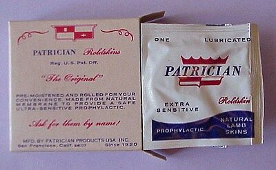 Nos Vintage Patrician Natural Lamb Skin Condoms Box Of 3, Skin To Skin Condoms
