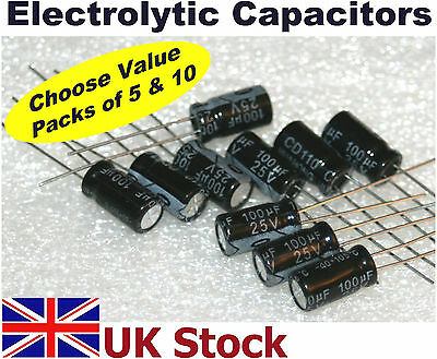 Radial Electrolytic Capacitors, many values, Packs of 5 and 10  -  UK Stock