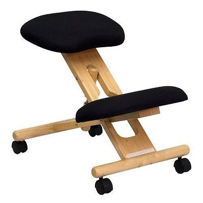 Mobile Wooden Ergonomic Kneeling Chair in Black Fabric by Flash Furniture new