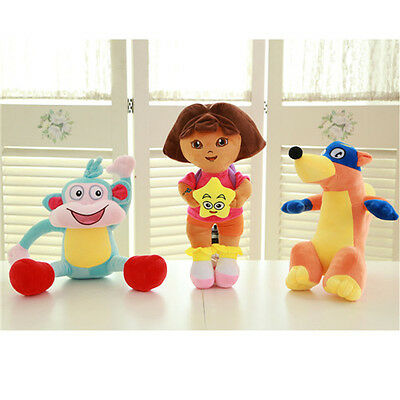 3X DORA The Explorer Swiper Fox Boots The Monkey Plush Toy Stuffed Doll 10''