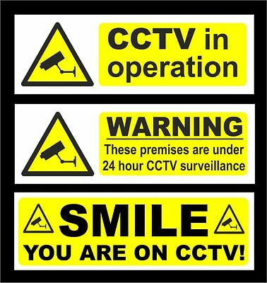 SMILE CCTV In Operation 24 Hr Surveillance Signs All Materials & Sizes Security