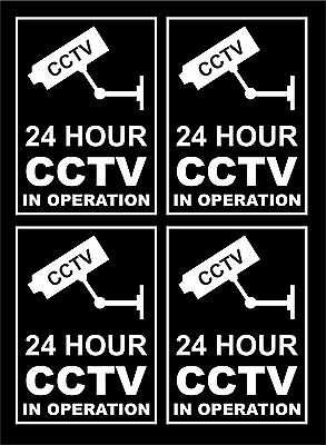 *Pack Of 4* 24 Hour CCTV In Operation Window Stickers Stick Inside To Read Out