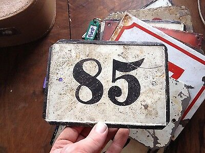 VINTAGE Antique ENAMEL SIGN PLATE TIN STREET HOME DOOR NUMBER 85