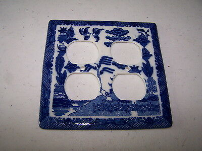 "Vintage Ceramic Electrical Cover Plate Asian? 5"" X 5"" Excellent Condition"
