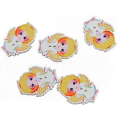 30PCs Girl Angel Shaped 2 Holes Wooden Buttons Fit Sewing DIY Scrapbooking