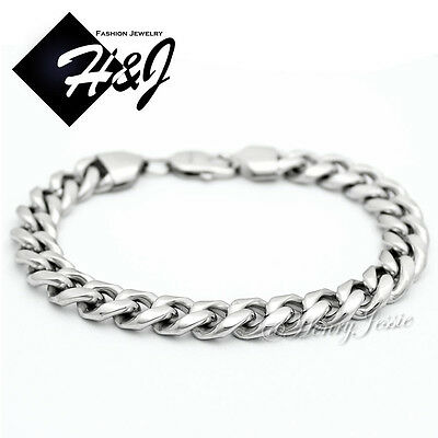 "7.5""--10""MEN's Stainless Steel 10x4mm Silver Cuban Curb Link Chain Bracelet*B166"
