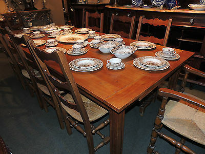 Antique English Country Dining Room Cherry Wood Table (chairs sold separately)