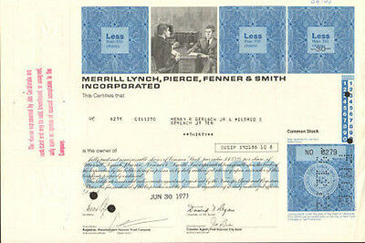 MERRILL LYNCH stock certificate > now Bank of America BAML