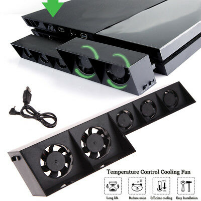 USB External Turbo Temperature Control Cooling 5 Fan Cooler For Playstation4 PS4