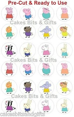 24 x PEPPA PIG & FRIENDS Edible Wafer Cupcake Cake Toppers, PRE-CUT Ready to Use