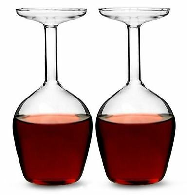 Upside Down Wine Glass 375ml Set of 2