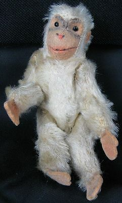 Antique Stuffed Steiff With Glass Eyes Cute Monkey Coco's Friend White Mohair