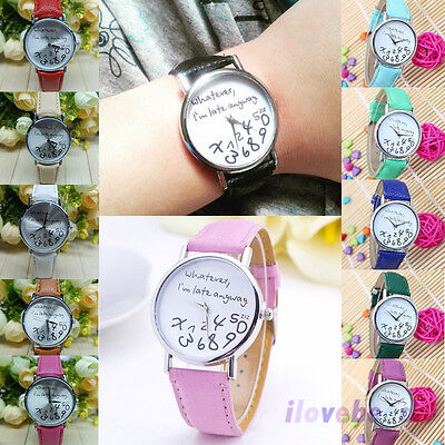 """Whatever I'm late anyway"" Womens Mens Wristwatch Fashion Leather Quartz Watches"