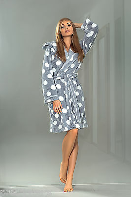 Women Polka Dot Knee Length Dressing Gown With Hood Darcy/Ball