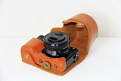 Leather Camera case bag for Sony Alpha A6000 A6300 With 16-50 mm lens in Brown