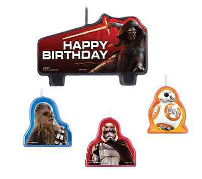 Star Wars EP Episode VII The Force Awakens Birthday Party Cake Candles Set Of 4