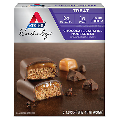Atkins Endulge Chocolate Caramel Mousse - 5 Bars, Low Carb, No Added Sugar