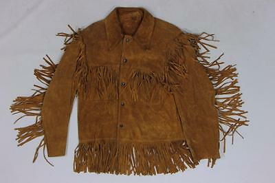 70s Vintage Fringed Motorcycle Biker Southwestern Hippie Suede Leather Jacket S