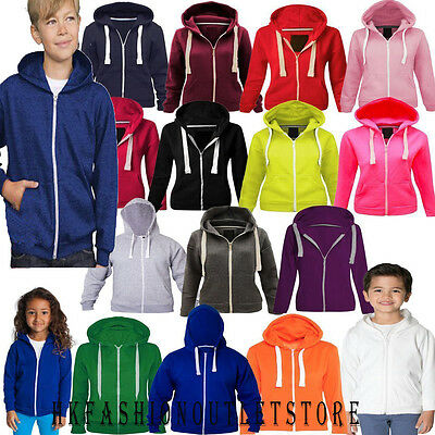 Kids Boys&Girl Plain Hoodie Hoody Sizes Age 3 13 Years School Zipper Sweatshirt