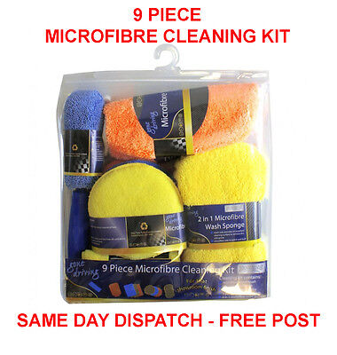 9 Piece Microfibre Cleaning Kit Sponges Cloths Brushes Pad Auto Care Washing Car