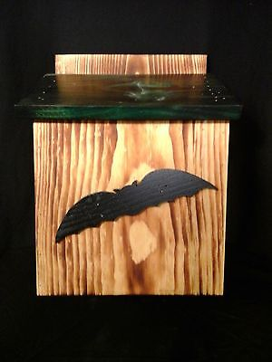 Bat House Handmade Handcrafted Amish Natural Wood/Green Color