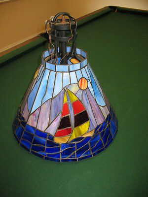 Vintage Applebee's Commerical Stained Glass Hanging Light Chandelier SAILBOAT