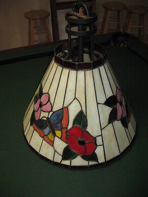 Vintage Applebee's Commerical Stained Glass Hanging Light Chandelier BUTTERFLY