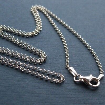 Sterling Silver Rolo Necklace Chain 2mm, 16 to 40 inch. Ready for Pendant