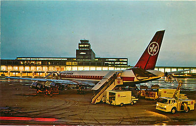 AIR CANADA DC-8 at MONTREAL INTERNATIONAL AIPORT - Great Old Postcard,  1965