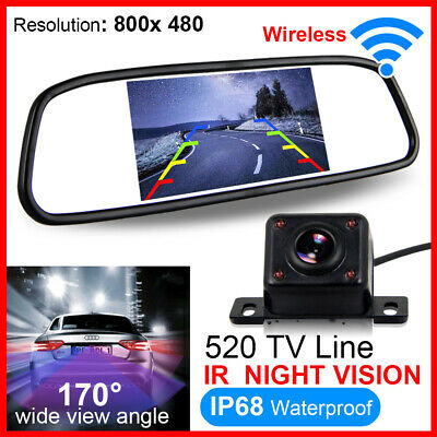 "Wireless Car Rear View Kit 4.3"" Tft Lcd Mirror Monitor + Ir Led Reversing Camera"