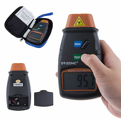 Black Professional Digital Photo Laser Tachometer Non Contact Tach RPM Tester