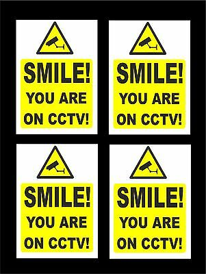 *PACK OF 4* Smile You Are On CCTV Signs - All Materials Sizes Camera Security