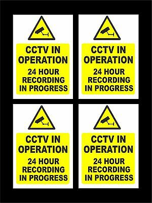 *PACK OF 4* CCTV In Operation 24 Hr Recording Signs - All Materials & Sizes