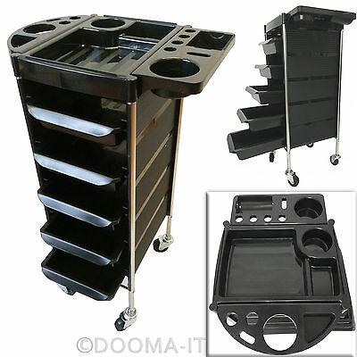 5 Drawer Hairdresser Beauty Spa Coloring Hair 6Tier Trolley Rolling Storage Cart