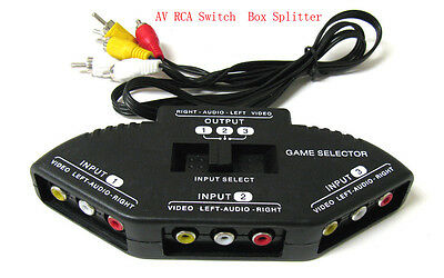 3-Way RCA Audio Video Selector Switcher Switch Box A/V Multi input/output 4 XBOX