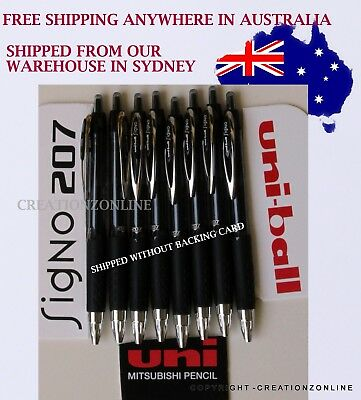 BLACK UNIBALL Uni Ball INK SIGNO 207 GEL RETRACTABLE PEN MADE IN JAPAN 8 PACK
