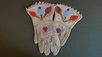 Fine Pair of Native American Plains Floral Pattern Beaded Gauntlet Gloves 1930
