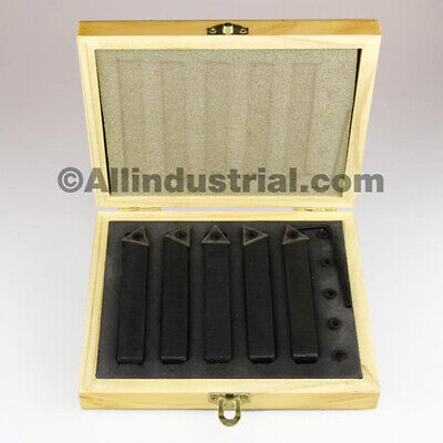 "3/4"" 5 Pc Indexable Carbide Insert Turning Tool Bit Lathe Set C6 Chipbreaker"